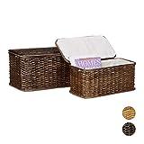 Truhe 2er Set geflochten Rattan eckig H x B x T: 26 x 50 x 29,5 cm stapelbare Korbtruhe mit herausnehmbarem Innenfutter waschbar ca. 28 L Rattantruhe atmungsaktiv und dekorativ, rotbraun