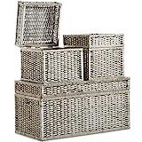 3-er Set mit großer Truhe und Körben aus Korbgeflecht - Korbtruhen - Klappdeckel - 1 große Truhe & 2 Körbe in Würfelform - Aufbewahrung
