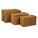 Relaxdays 3er Set Buri H x B x T: 39 x 60 x 37,5 cm Flechtoptik mit Deckel 71 L Korbtruhe mit herausnehmbarem Innenfutter Aufbewahrungstruhe atmungsaktiv stapelbare Wäschetruhe Natur, honigbraun