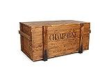 Uncle Joe´s Truhe Holzkiste Champagne, 85 x 45 x 46 cm, Holz, Hellbraun, Vintage, Shabby chic Couchtisch, braun