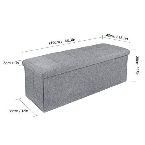 Homfa Sitzbank mit Stauraum 110x38x38cm Sitzhocker Bank Truhe mit Deckel Fußablage - 7