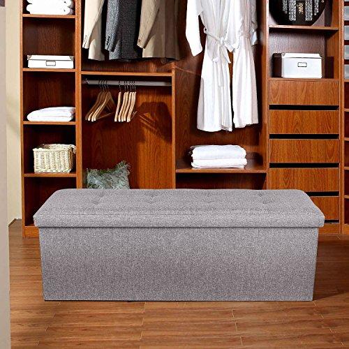 Homfa Sitzbank mit Stauraum 110x38x38cm Sitzhocker Bank Truhe mit Deckel Fußablage - 8