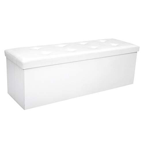 COSTWAY Sitzbank bis 300kg belastbar, Sitzbox Sitzwürfel Bank faltbar, Sitzkasten Polsterhocker Truhe, Sitztruhe PVC-Leder, Aufbewahrungsbox 114 x 38 x 38cm (Weiß)