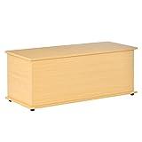 HOMCOM Truhe Aufbewahrungsbox Holzkiste mit klappbarem Deckel Spanplatte Buche 100 x 40 x 40cm