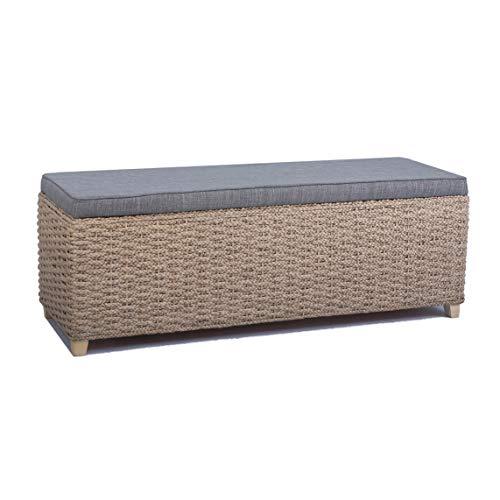 Büloo Bettbank Schlafzimmerbank Flurbank Schuhbank Sitzbank mit Aufbewahrung AufbewahrungshockerFaltbarer Aufbewahrungsbox aus natürlicher Wasserhyazinthe,mit Füße (112x40x40 Grau)