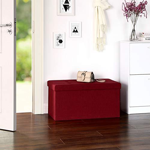 SONGMICS Sitzbank mit Stauraum, Truhe mit Deckel, faltbares Sitzmöbel, Bett, Schlafzimmer, Flur, platzsparend, 80L Fassungsvermögen, stabil bis 300 kg, gepolstert, rot LSF47RD - 3