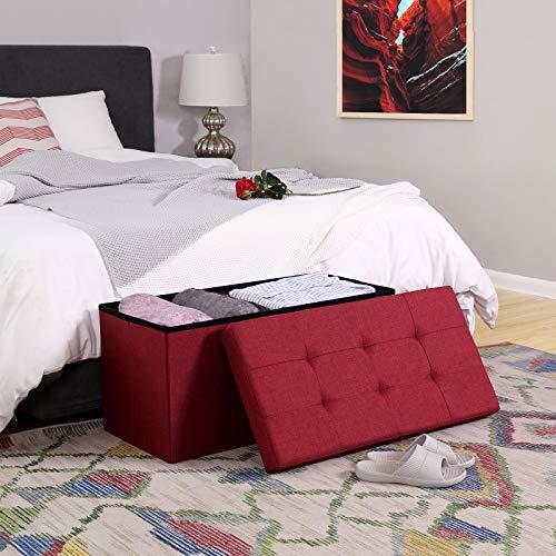 SONGMICS Sitzbank mit Stauraum, Truhe mit Deckel, faltbares Sitzmöbel, Bett, Schlafzimmer, Flur, platzsparend, 80L Fassungsvermögen, stabil bis 300 kg, gepolstert, rot LSF47RD - 2