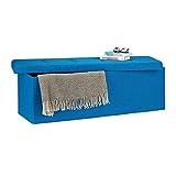 Relaxdays Faltbare Sitzbank XXL, Sitzcube mit Stauraum, Sitzwürfel aus Leinen, mit Deckel, HBT 38 x 114 x 38 cm, blau