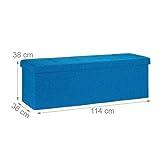 Relaxdays Faltbare Sitzbank XXL, Sitzcube mit Stauraum, Sitzwürfel aus Leinen, mit Deckel, HBT 38 x 114 x 38 cm, blau - 3