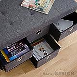 DuneDesign Faltbare Sitzbank 76x38x38cm inkl. 6 Schubladen Sitztruhe 80L Polsterbank Ottomane Leinen Dunkelgrau - 6
