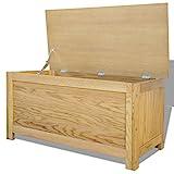Festnight Holz Aufbewahrungstruhe aus Eichenholz Aufbewahrungsbox Holztruhe 90 x 45 x 45 cm