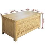 Festnight Holz Aufbewahrungstruhe aus Eichenholz Aufbewahrungsbox Holztruhe 90 x 45 x 45 cm - 6
