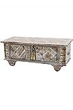 Orientalische Truhe Kiste aus Holz barthel 116cm groß | Vintage Sitzbank mit Aufbewahrung für den Flur | Aufbewahrungsbox mit Deckel im Bad | Betttruhe als Kissenbox oder Deko im Schlafzimmer