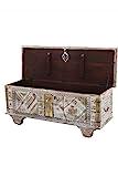 Orientalische Truhe Kiste aus Holz barthel 116cm groß | Vintage Sitzbank mit Aufbewahrung für den Flur | Aufbewahrungsbox mit Deckel im Bad | Betttruhe als Kissenbox oder Deko im Schlafzimmer - 2