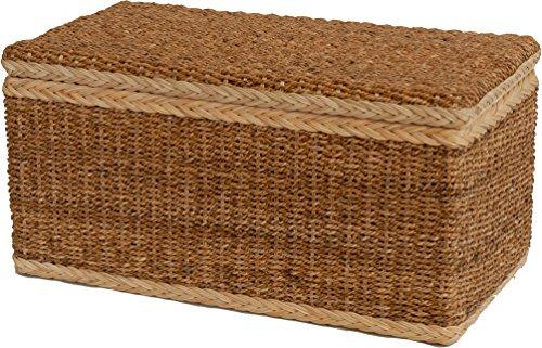 Truhe / Wäschetruhe aus natürlicher Bananenblatt-Rattan Materialkombination - Versandkostenfrei in DE