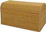 korb.outlet Grosse Truhe/Wäschetruhe aus Rattan mit rundem Deckel in der Farbe Honig