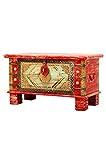 Orientalische Truhe Kiste aus Holz Chalil 80cm groß | Vintage Sitzbank mit Aufbewahrung für den Flur | Aufbewahrungsbox mit Deckel im Bad | Betttruhe als Kissenbox oder Deko im Schlafzimmer