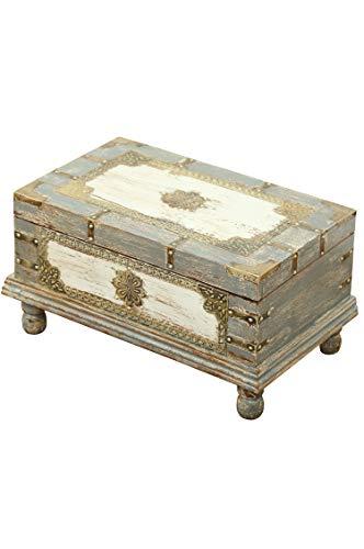 Orientalische Truhe Kiste aus Holz Arjuna Grau - 47cm groß   Vintage Sitzbank mit Aufbewahrung für den Flur   Aufbewahrungsbox mit Deckel im Bad   Betttruhe als Kissenbox oder Deko im Schlafzimmer - 2