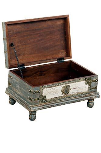Orientalische Truhe Kiste aus Holz Arjuna Grau - 47cm groß   Vintage Sitzbank mit Aufbewahrung für den Flur   Aufbewahrungsbox mit Deckel im Bad   Betttruhe als Kissenbox oder Deko im Schlafzimmer - 3