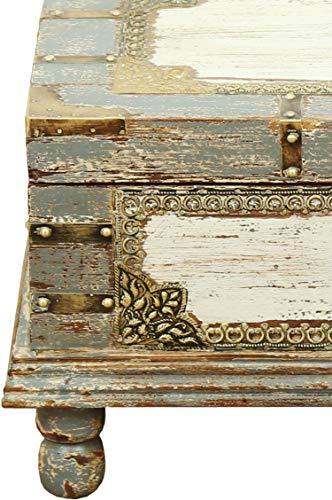 Orientalische Truhe Kiste aus Holz Arjuna Grau - 47cm groß   Vintage Sitzbank mit Aufbewahrung für den Flur   Aufbewahrungsbox mit Deckel im Bad   Betttruhe als Kissenbox oder Deko im Schlafzimmer - 4