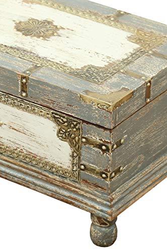 Orientalische Truhe Kiste aus Holz Arjuna Grau - 47cm groß   Vintage Sitzbank mit Aufbewahrung für den Flur   Aufbewahrungsbox mit Deckel im Bad   Betttruhe als Kissenbox oder Deko im Schlafzimmer - 5