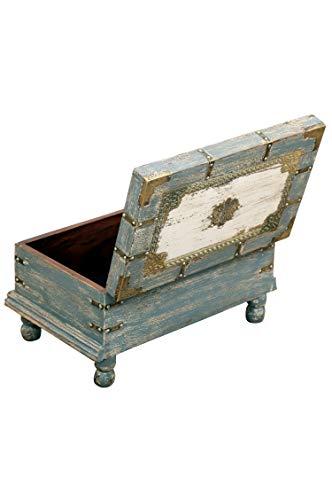 Orientalische Truhe Kiste aus Holz Arjuna Grau - 47cm groß   Vintage Sitzbank mit Aufbewahrung für den Flur   Aufbewahrungsbox mit Deckel im Bad   Betttruhe als Kissenbox oder Deko im Schlafzimmer - 6