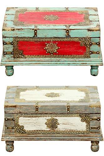 Orientalische Truhe Kiste aus Holz Arjuna Grau - 47cm groß   Vintage Sitzbank mit Aufbewahrung für den Flur   Aufbewahrungsbox mit Deckel im Bad   Betttruhe als Kissenbox oder Deko im Schlafzimmer - 7