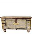 Orientalische Truhe Kiste aus Holz Baschira - 88cm groß | Vintage Sitzbank mit Aufbewahrung für den Flur | Aufbewahrungsbox mit Deckel im Bad | Betttruhe als Kissenbox oder Deko im Schlafzimmer - 2