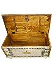 Orientalische Truhe Kiste aus Holz Baschira - 88cm groß | Vintage Sitzbank mit Aufbewahrung für den Flur | Aufbewahrungsbox mit Deckel im Bad | Betttruhe als Kissenbox oder Deko im Schlafzimmer - 3