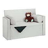 Relaxdays, 2 Kissenrollen, faltbar, Aufbewahrung, gepolstert, Flur, Sitztruhe 75 x 115 x 47 cm, Creme Sitzbank mit Lehne, leinen, 47 x 115 x 75 cm