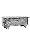 Orientalische Truhe Kiste aus Holz Daher 116cm White Wash | Vintage Sitzbank mit Aufbewahrung für den Flur | Aufbewahrungsbox mit Deckel im Bad | Betttruhe als Kissenbox oder Deko im Schlafzimmer