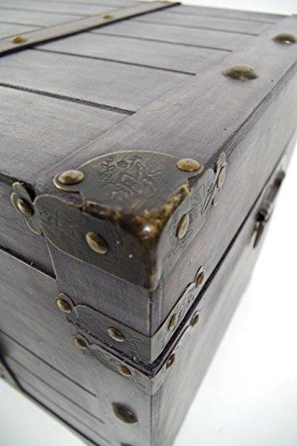 Truhe Kuba im Schatzkistendesign aus grauem Holz - 2