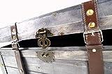 Kobolo Truhe Kuba im Schatzkistendesign aus grauem Holz mit Metall- und Kunstlederapplikationen - 4