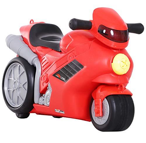 HOMCOM 4-in-1 Kinderkoffer Motorrad Kindergepäck Multifunktion Handgepäck mit Gurt zum Sitzen und Rollen mit Rädern Kunststoff Rot 52 x 25 x 34 cm 20 kg Belastbarkeit