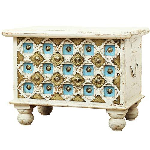 Orientalische Truhe Kiste aus Holz Anik Weiss 60cm | Vintage Sitzbank mit Aufbewahrung für den Flur | Aufbewahrungsbox mit Deckel im Bad | Betttruhe als Kissenbox oder Deko im Schlafzimmer