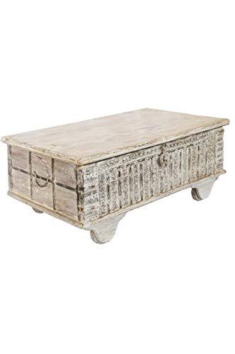 Orientalische Truhe Kiste Holz Ajala 121cm groß in Shabby Weiß | Vintage Sitzbank mit Aufbewahrung für den Flur | Aufbewahrungsbox mit Deckel im Bad | Betttruhe als Kissenbox oder Deko im Schlafzimmer