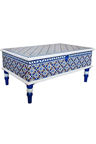 Marokkanischer Tisch Couchtisch Dimana 100cm Bunt | Orientalischer Holz Sofatisch orientalisch handbemalt | Indischer Wohnzimmertisch Truhentisch mit Stauraum | Asiatische Möbel aus Indien