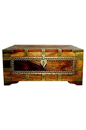 Orientalische Truhe Kiste aus Holz Kanjana Braun | Vintage Sitzbank mit Aufbewahrung für den Flur | Aufbewahrungsbox mit Deckel im Bad | Betttruhe als Kissenbox oder Deko im Schlafzimmer