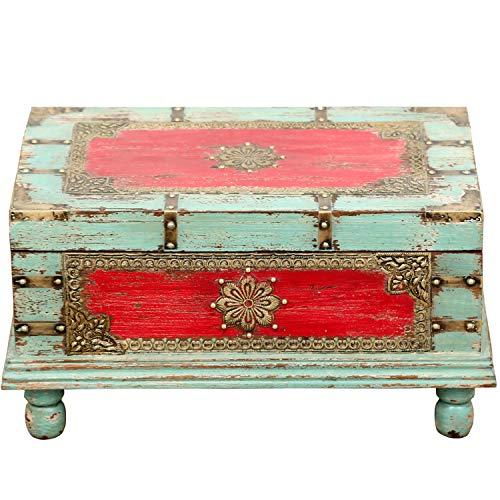 Orientalische Truhe Kiste aus Holz Arjuna Rot - 47cm groß | Vintage Sitzbank mit Aufbewahrung für den Flur | Aufbewahrungsbox mit Deckel im Bad | Betttruhe als Kissenbox oder Deko im Schlafzimmer