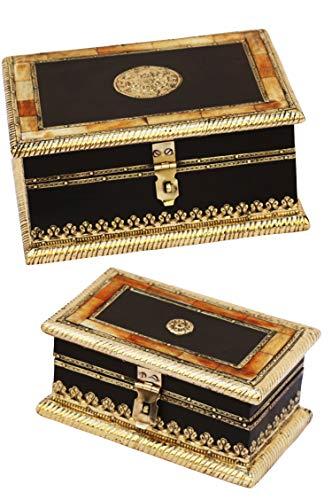 2er SET Orientalische kleine Aufbewahrungsbox mit Deckel Babuna 22cm groß | Orientalischer Schmuckkästchen für Mädchen und Damen zur Schmuckaufbewahrung | Marokkanische Schatulle Box aus Holz