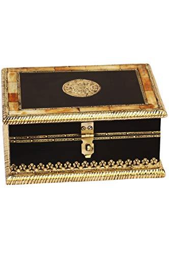 2er SET Orientalische kleine Aufbewahrungsbox mit Deckel Babuna 22cm groß | Orientalischer Schmuckkästchen für Mädchen und Damen zur Schmuckaufbewahrung | Marokkanische Schatulle Box aus Holz - 2