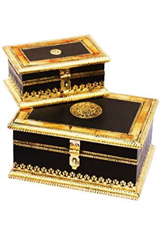 2er SET Orientalische kleine Aufbewahrungsbox mit Deckel Babuna 22cm groß | Orientalischer Schmuckkästchen für Mädchen und Damen zur Schmuckaufbewahrung | Marokkanische Schatulle Box aus Holz - 3