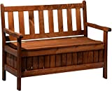 dobar Gartenbank Massive mit Lehne 2-Sitzer aus FSC Holz, 115x58x89cm, braun - 3