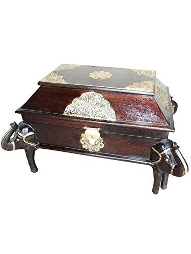 Orientalische Truhe Kiste aus Holz Durah 56cm groß | Vintage Sitzbank mit Aufbewahrung für den Flur | Aufbewahrungsbox mit Deckel im Bad | Betttruhe als Kissenbox oder Deko im Schlafzimmer