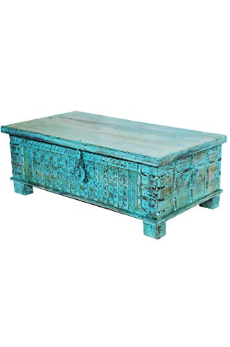 Orientalische Truhe Kiste Holz Ajala 121cm Vintage Blau | Vintage Sitzbank mit Aufbewahrung für den Flur | Aufbewahrungsbox mit Deckel im Bad | Betttruhe als Kissenbox oder Deko im Schlafzimmer