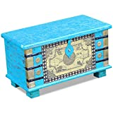 Festnight Abschließbar Aufbewahrungstruhe aus Mangoholz Dekorative Truhe Aufbewahrungsbox als Kaffeetisch Retro-Stil 80x40x45cm Blau