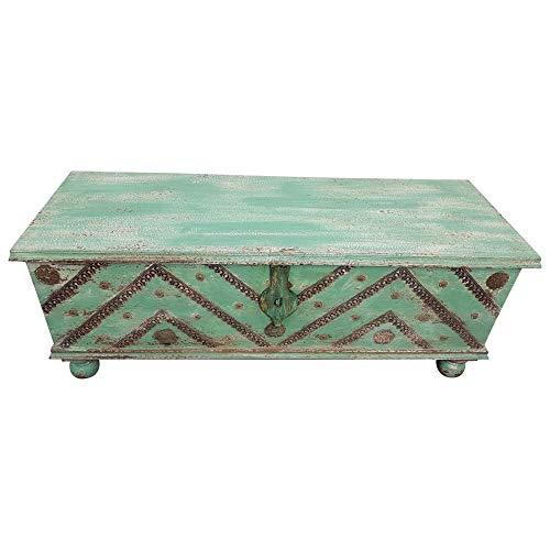 Indoortrend.com Truhe Kiste Holztruhe Vintage Grün Box aus Altholz Antik Handarbeit Unikat 12