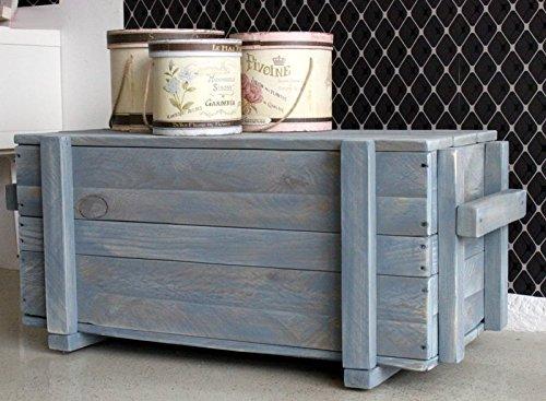dekorie67 Truhe aus Holz sehr stabil schweden blau Shabby Vintage fertig montiert