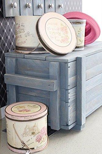 dekorie67 Truhe aus Holz sehr stabil schweden blau Shabby Vintage fertig montiert - 3
