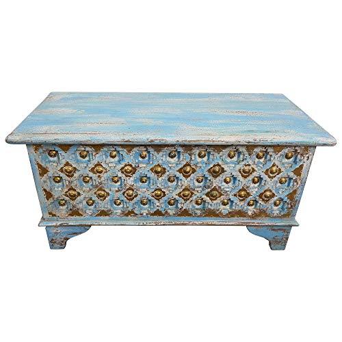 Indoortrend.com Truhe Kiste Holztruhe 90 Box Vintage Blau Shabby Chic aus Handarbeit Unikat